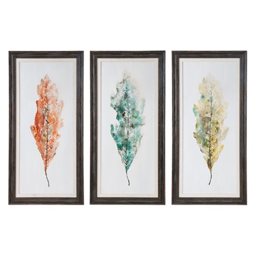 Uttermost Tricolor Leaves Abstract Art, S/3