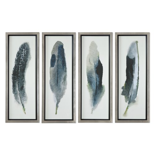 Uttermost Feathered Beauty Prints, S/4