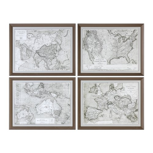Uttermost World Maps Framed Prints S/4