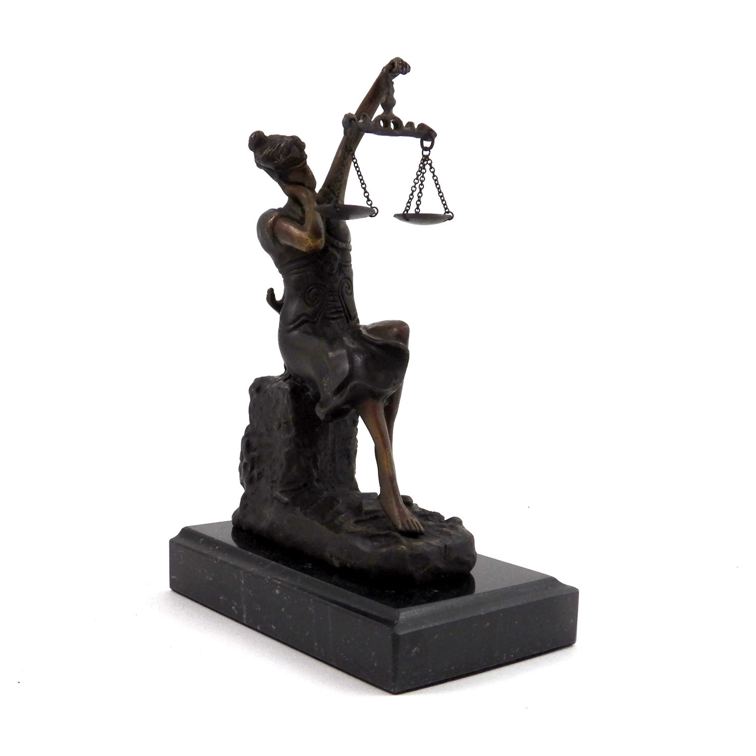 Bronze Sleeping Lady Justice Sculpture on Marble Base