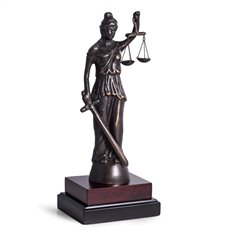 Brass Lady Justice Sculpture on Wood Base