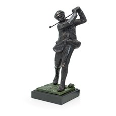 14 Bronzed Metal Golfer on Marble Base