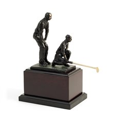 10 Double Golfers with Bronzed Finish on Wood Base