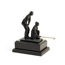 8 3/4 Double Golfers with Bronzed Finish on Wood Base