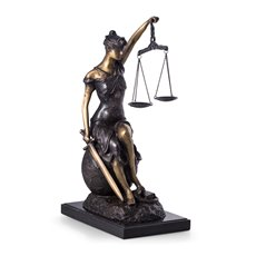 Limited Edition Bronze Seated Lady Justice with Globe on Marble Base