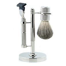 Fusion Razor and Pure Badger Brush on Diamond Cut Design Chrome Stand