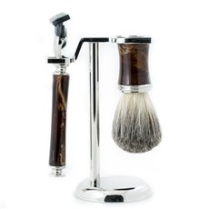 Fusion Razor and Pure Badger Brush with Marbleized Brown Enamel on Chrome Stand