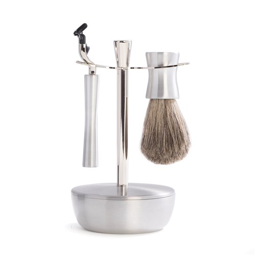 Mach 3 Razor and Pure Badger Brush with Chrome and Stainless Soap Dish and Stand