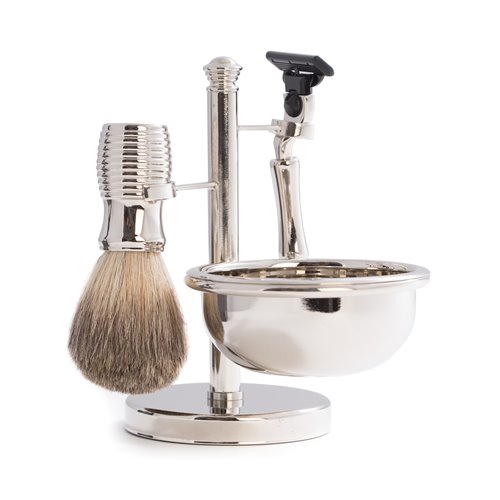 Mach 3 Razor and Pure Badger Brush with Soap Dish on Chrome Stand