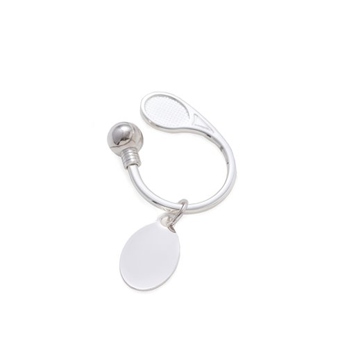 Silver Plated Tennis Key Ring with ID Tag