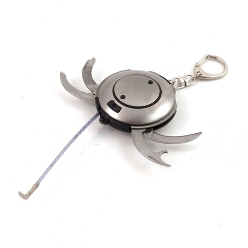 Multifunctional Brushed Stainless Steel Key Ring with LED light, 3' Tape Measure, Foil Cutter, File and Screwdriver, Bottle Opener and Knife