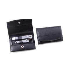 2 Piece Nail Clipper Set in Black Leather Case