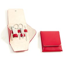 5 Piece Manicure Set with Cuticle Cleaner, Small Nail Clipper, Scissors, File and Knife Tool and Tweezers in Red Leather Case