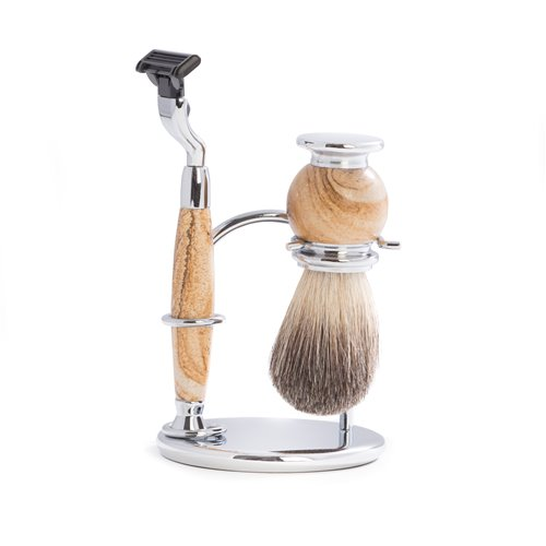 Mach 3 Razor and Pure Badger Brush on Chrome with Tan Stone Stand