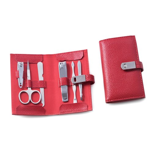 6 Piece Manicure Set with Cuticle Cleaner, Small and Large Nail Clippers, Scissors, File and Tweezers in Red Leather Case
