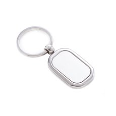 Shinny and Satin Silver Plated Rectangular Key Ring