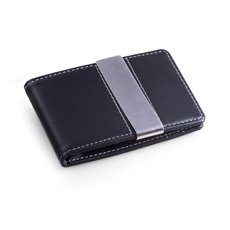Black Leather Wallet with Credit Card / ID Slots and Stainless Steel Money Clip