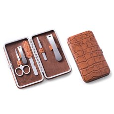 5 Piece Manicure Set with Small and Large Clippers, File, Tweezers and Scissors in Brown Leather with Croco Pattern Case