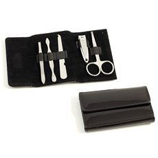 5 Piece Manicure Set with Tweezers, Cuticle Cleaner, File, Small Clipper and Scissor in Black Leather
