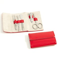 5 Piece Manicure Set with Tweezers, Cuticle Cleaner, File, Small Clipper and Scissor in Red Leather