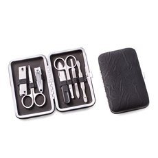 9 Pieces Manicure Set in a Black Ultra Suede Case