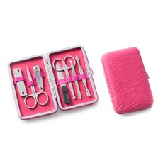 9 Pieces Manicure Set in a Coral Ultra Suede Case