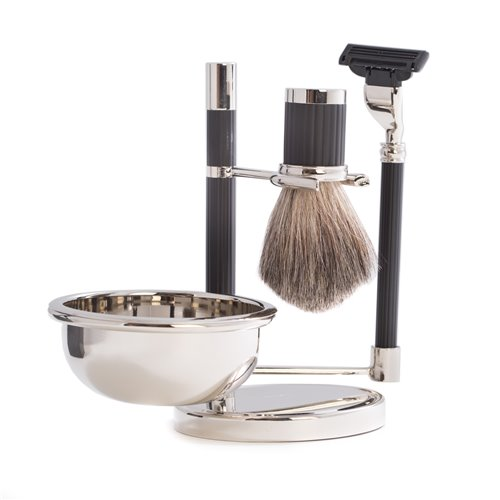 Mach 3 Razor and Pure Badger Brush with Soap Dish on Chrome Black Stand