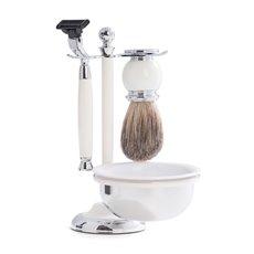 Mach3 Razor and Pure Badger Brush with Soap Dish on Chrome Plated White Enamel Finish Base