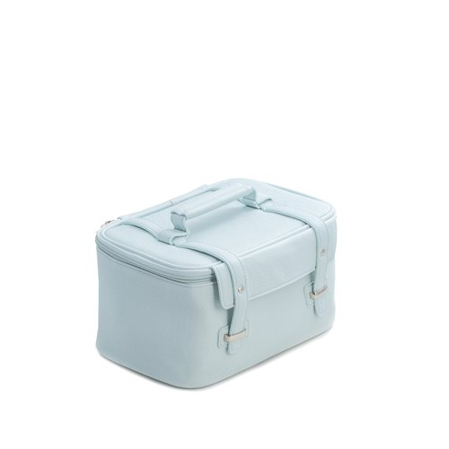 Light Blue Leatherette Travel Makeup Case with 3 Removable Compartments, Elastic Loops, Zippered Compartment, Nylon Lining and Zipper Closure
