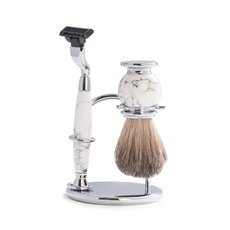 Mach 3 Razor and Pure Badger Brush on Chrome with White Stone Stand