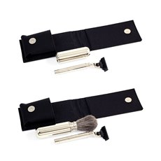 Mach 3 Razor and Travel Badger Brush with Chrome Plated Finish in Black Canvas