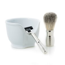 Chrome Plated Mach 3 Razor and Badger Brush with a White Porcelain Soap Dish