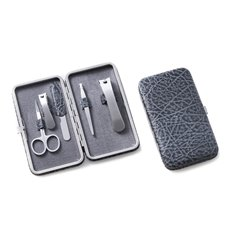5 Piece Manicure Set with Small and Large Clipper, File, Tweezers, and Scissors in Grey Leather Case