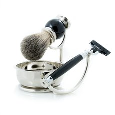 Mach 3 Razor with Badger Brush and Soap Dish on Chrome Stand and Black Enamel Finish