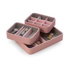 Pink Leatherette Open Face Stackable Jewelry Organizer with Multi Compartments, Including Slots for Rings