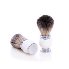 Pure Badger Shaving Brush with White Enamel Handle and Chrome Accents