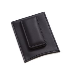 Black Leather Magnetic Money Clip and Wallet
