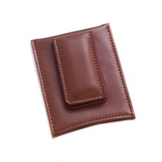 Brown Leather Magnetic Money Clip and Wallet