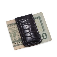 Black Croco Leather Magnetic Money Clip