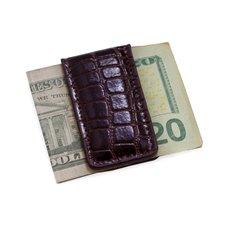 Brown Croco Leather Magnetic Money Clip