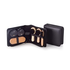 Shoe Shine Kit in Zippered Black Leather Case
