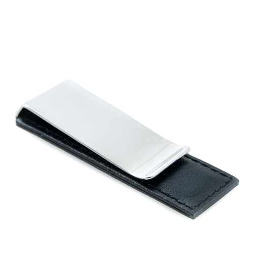 Chrome Plated Money Clip with Black Leather Accent
