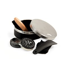 Shoe Shine Set in Stainless Steel and Black Leather Case