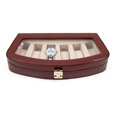 Brown Leather 6 Watch Case with Glass Top and Locking Clasp Pigskin Leather Lined