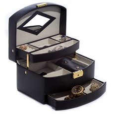 Black Leather 3 Level Hinged Jewelry Box with Mirror, Travel Roll and Locking Clasp