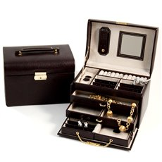 4 Level Hinged Brown Leather Jewelry Box with Mirror, Travel Case, Two Drawers and Locking Clasp