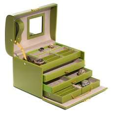4 Level Hinged Lime Leather Jewelry Box with Mirror, Travel Case, Two Drawers and Locking Clasp