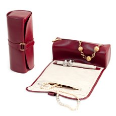 Red Leather Jewelry Roll with Compartments for Watches or Bracelets, Straps for Hanging Necklaces and Rings or Earrings Strap with Magnetic Clasp