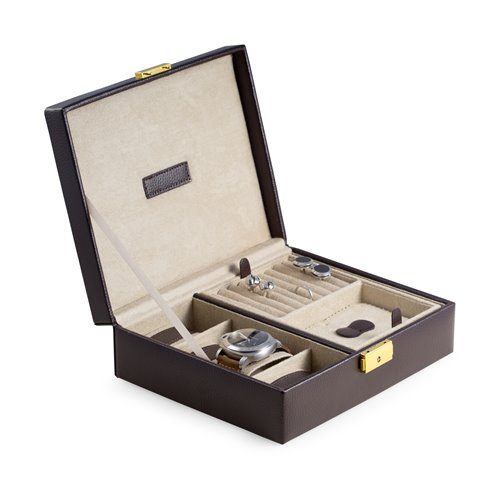 Brown Leather 4 Watch Case and Valet with Removable Tray and Locking Clasp Velour Lined
