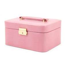 Pink Lizard Debossed Leather Jewelry Box